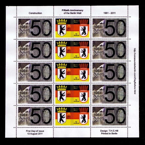 Fiftieth Anniversary of Construction of the Berlin Wall Cinderella Stamp Sheet